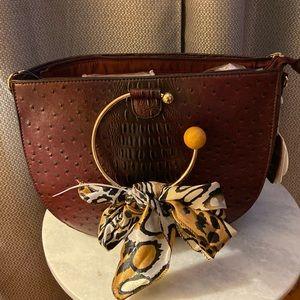 Fashion Faux Leather Ostrich 3 in 1 Handbag Set